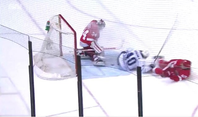Michael Grabner was the latest NHL player to score a goal with his backside. (NBCSN)