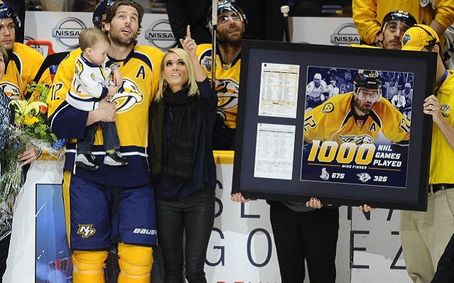 Mike fisher was joined by wife carrie underwood and their son to be