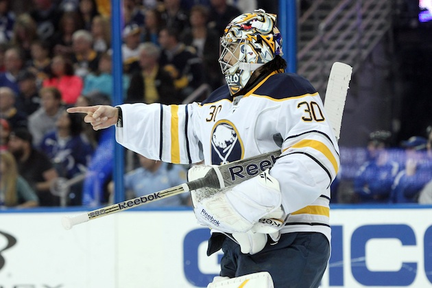 Buffalo Sabres goalie Ryan Miller isn't worried about trade speculation.(USATSI)