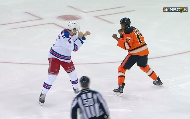 Dylan McIlrath wanted Wayne Simmonds to answer the bell. (NBCSN)