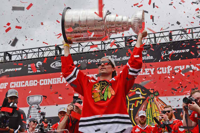 Patrick Sharp won three Stanley Cups with the Chicago Blackhawks. (USATSI)