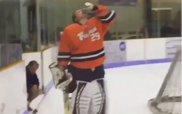 Virginia's goalie celebrated his shutout a period too early. (Instagram)