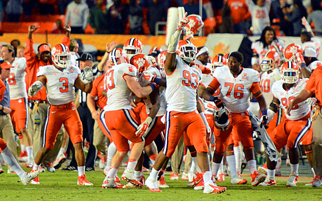 Clemson players celebrate their 40-35 win over Ohio State in the Orange Bowl, their first BCS win.(USATSI)