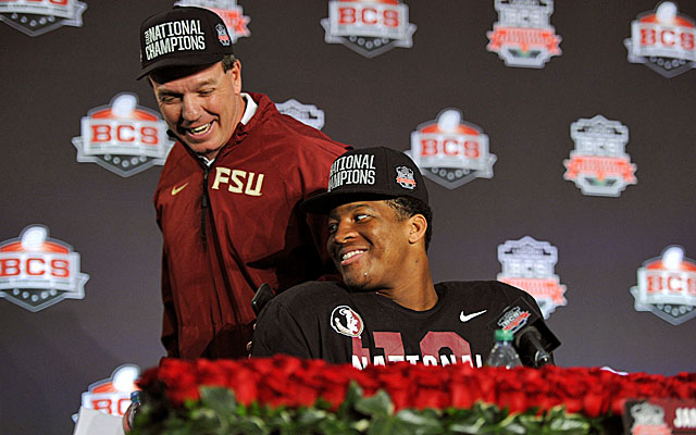Florida State coach Jimbo Fisher and Jameis Winston have the last laugh after winning the title. (USATSI)