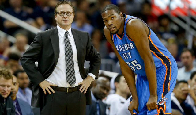 Kevin Durant and Scott Brooks will both be free agents this summer.  (USATSI)