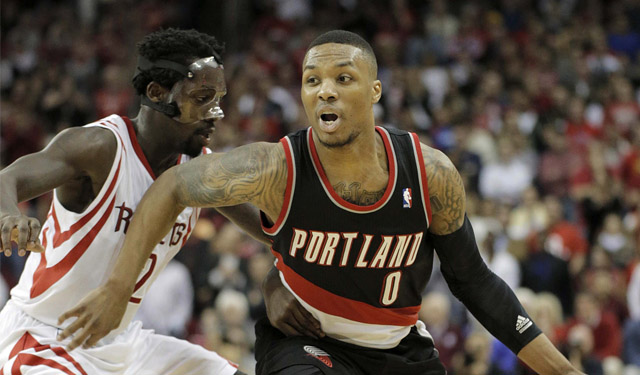 Things got chippy between Lillard and Beverley. (USATSI)