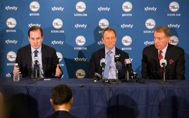 The man on the left does not work for the 76ers anymore.  (USATSI)