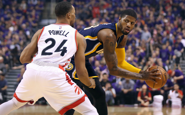 Norman Powell guards Paul George in the playoffs.  (USATSI)