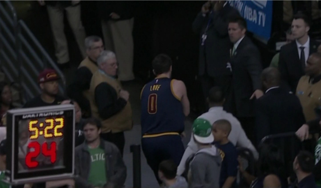Kevin Love heads to the locker room.