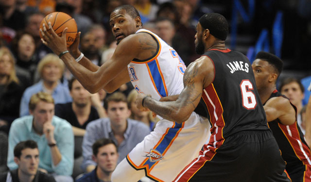 James says Durant deserves to be MVP this season. (USATSI)