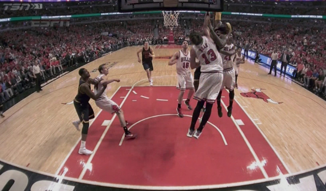 watch lebron james dunks hard then gets into it with joakim noah
