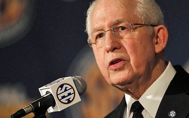 SEC commissioner Mike Slive has thus far not addressed the role of league coaches on SEC Network. (Getty)