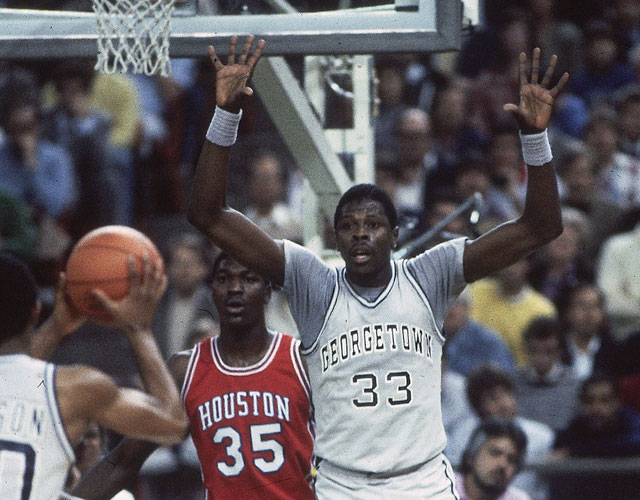 Before they were NBA stars, Hakeem (then Akeem) Olajuwon and Patrick Ewing squared off the for the '84 NCAA title. (Getty)