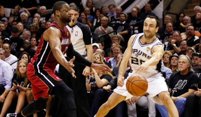 Manu Ginobili and Dwyane Wade were huge parts of the first half of Game 1.  (USATSI)