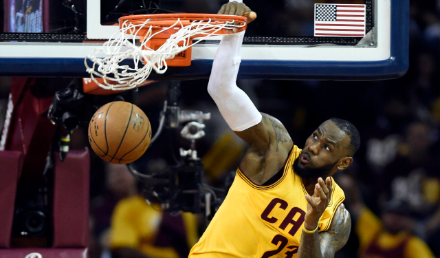 WATCH: LeBron James rises for the slam in NBA Finals Game 3 - CBSSports.com