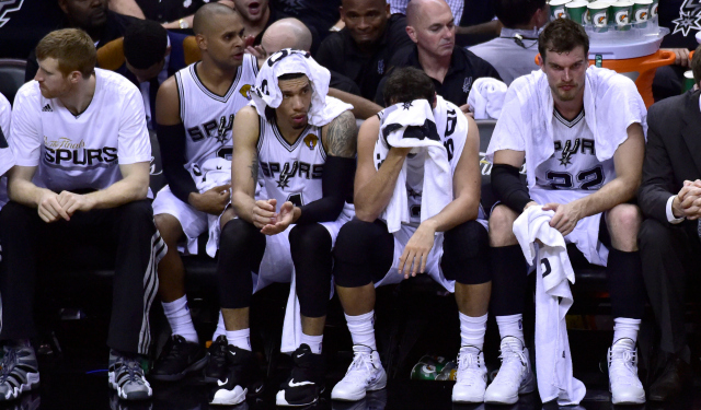 The Spurs sit uncomfortably during Game 1 of the Finals.