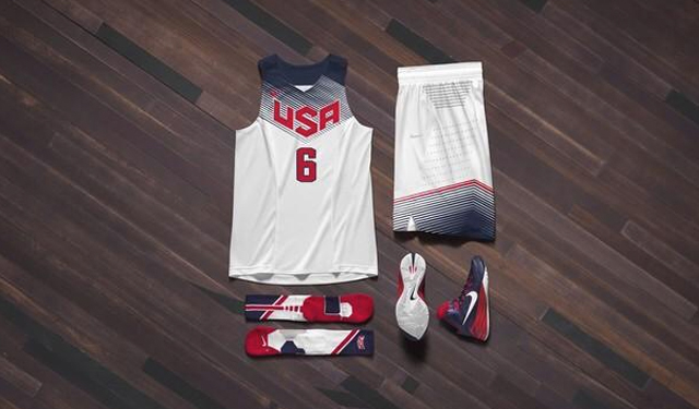 These are the home kits for USA Basketball.