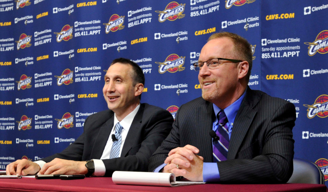 David Blatt and David Griffin are thrilled to have LeBron James on the team.  (USATSI)