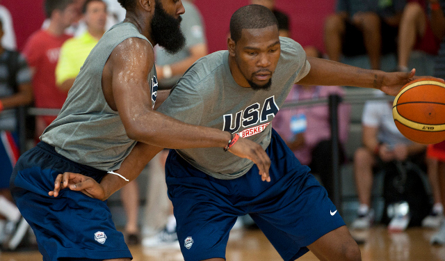 Kevin Durant didn't have his normal energy at Team USA training camp.  (USATSI)