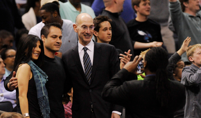 Adam Silver enjoys himself at Time Warner Cable Arena.  (USATSI)