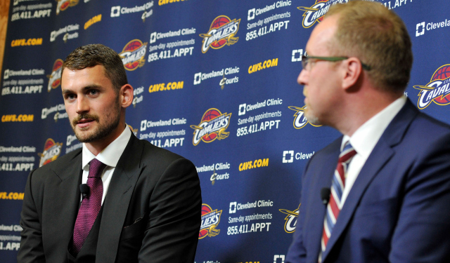 David Griffin isn't looking at Kevin Love as a defensive liability.  (USATSI)