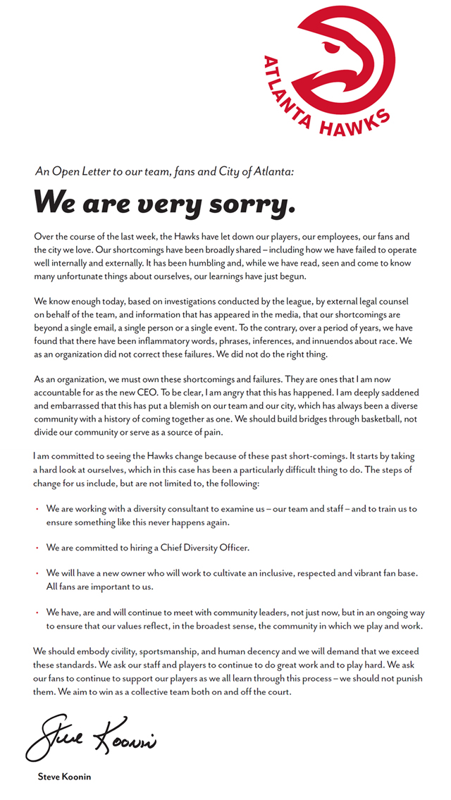 Atlanta Hawks issue letter of apology to their fans and Atlanta