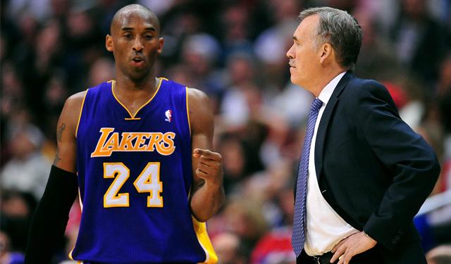 Kobe is probably pointing D'Antoni to the door. (USATSI)