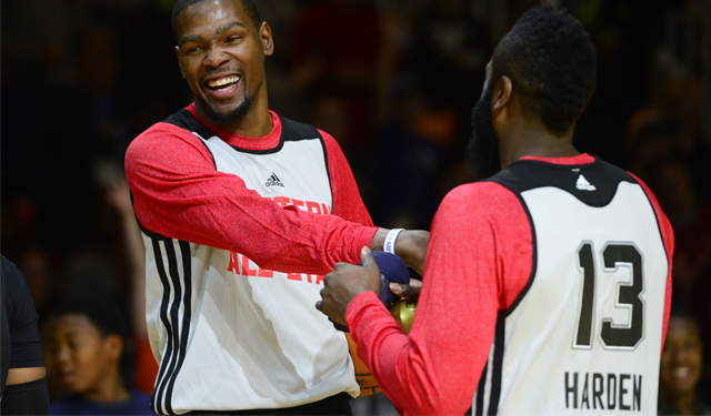 Could we see a reunion with Harden and Durant? (USATSI)
