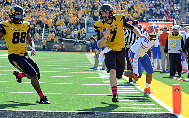 Missouri quarterback Maty Mauk scores and helps lead the Tigers to a 7-0 start.   (USATSI)