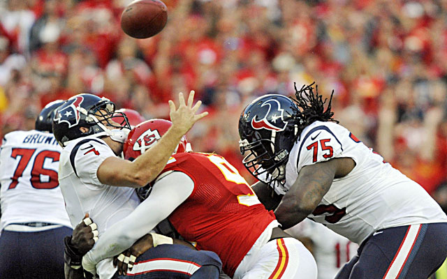 Texans backup quarterback Case Keenum fumbles as he's sacked by the Chiefs' Justin Houston.  (USATSI)