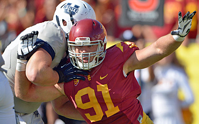 Morgan Breslin led the Trojans in tackles for loss (19.5) and sacks (13.5) in 2012. (USATSI)