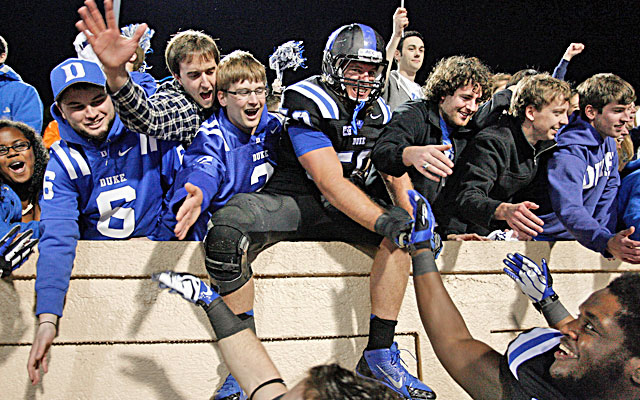 Kelby Brown celebrates with fans after Duke beats North Carolina State 38-20.  (USATSI)