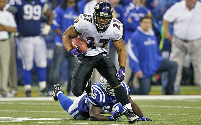 Ray Rice, running against the Colts here, could end up in Indianapolis. (Getty)