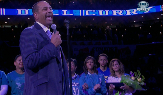watch de668 64b22 WATCH: Dell Curry honored in Charlotte, Stephen Curry ...