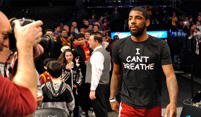 Kyrie Irving wears 'I Can't Breathe' shirt.  (USATSI)