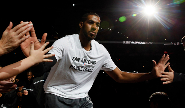 The Spurs' new weapon takes the court.  (USATSI)