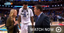 Allie LaForce with John Calipari and Willie Cauley-Stein (CBS)