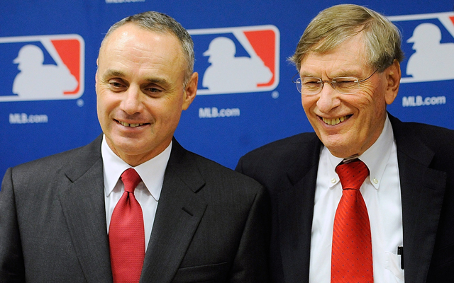 Rob Manfred (left) with bud Selig in 2011.