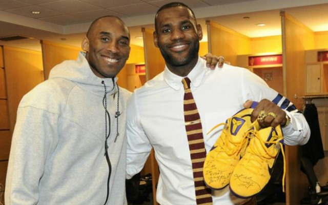 8cc6915f4cb LOOK  Kobe Bryant signs shoes for LeBron James after Lakers-Cavs ...