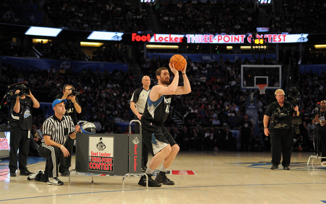 Kevin Love is still debating where to put the moneyball rack. (USATSI)