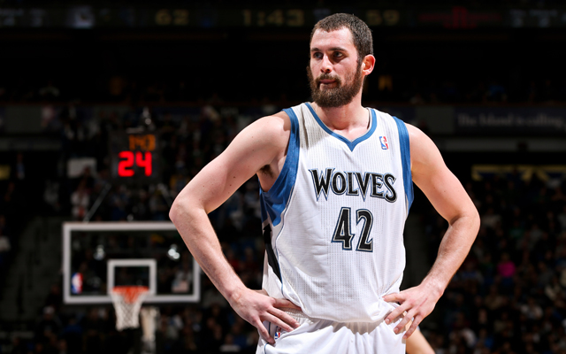 Kevin Love sits patiently on the trade block.  (USATSI)