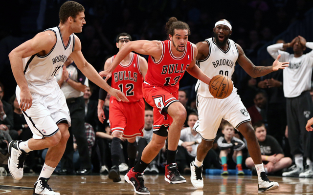 Noah outworked the Nets with one foot Monday.    (USATSI)