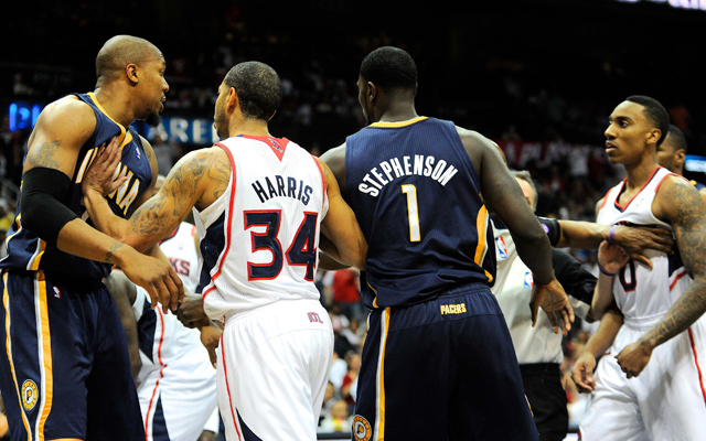 The Hawks and Pacers continue their scrap Monday.    (USATSI)