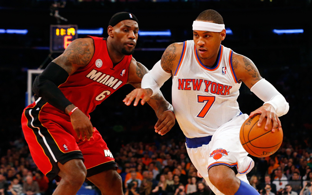 Melo moves past LeBron. (Getty Images)