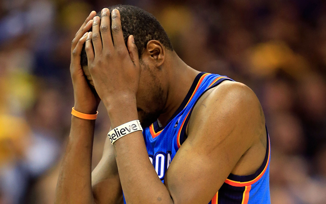 Game 4 was a nightmare for Kevin Durant in the 4th quarter and overtime.   (Getty Images)