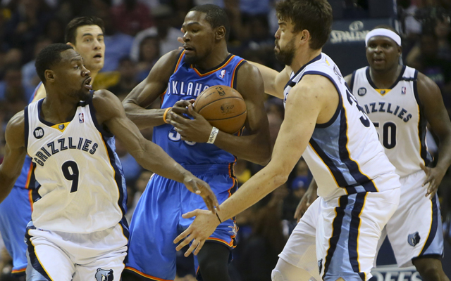 Tony Allen and Marc Gasol swarmed Kevin Durant all series. (Getty Images)