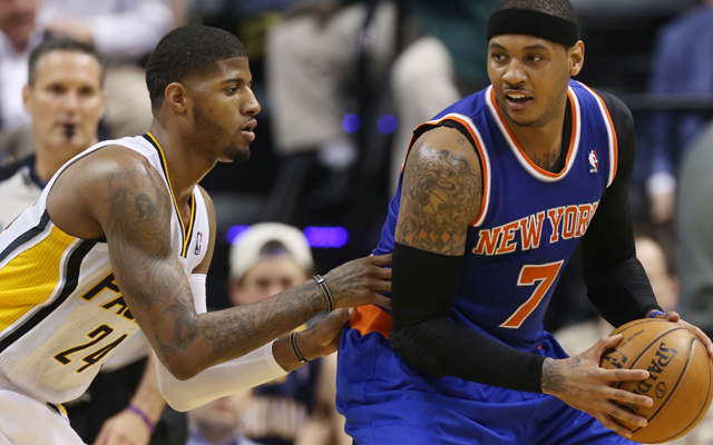 It's Paul George's job to beat Carmelo Anthony. (USATSI)