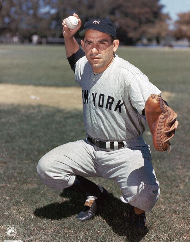 Yogi Berra in 2014 and in his career