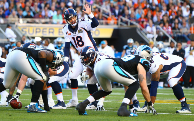 Peyton calls out signals at the line in his final game. (USATSI)