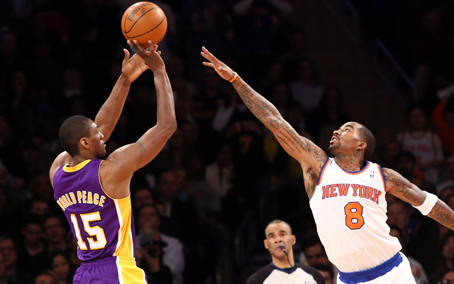 Metta World Peace is reportedly headed to Manhattan as a Knick.   (USATSI)